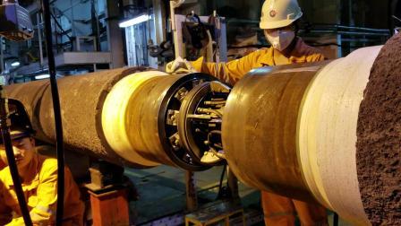 德平科技20英寸气坝内对口器在卡塔尔NFA WHP3项目中CRA复合管的对口展示