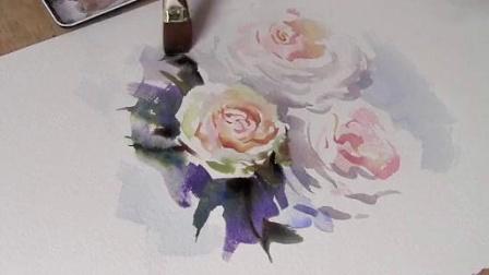 特雷弗·沃—— 如何用水彩画白玫瑰_标清