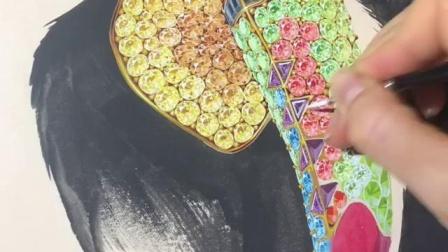画上满满的彩色宝石后的鹦鹉画水彩手绘上色过程