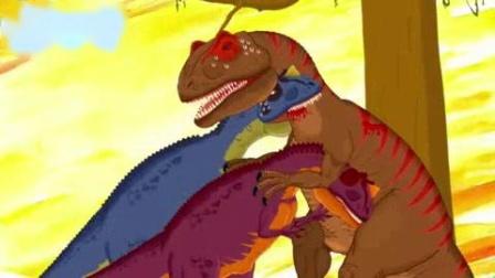 我在剑龙霸王龙三角龙的战斗瞬间 恐龙动漫截取了一段小视频