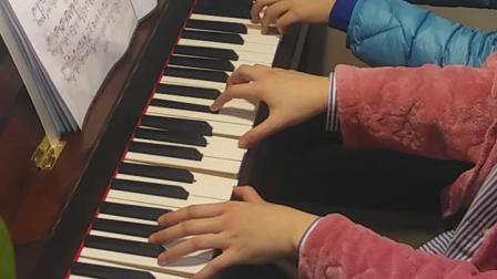 女儿练琴,四手联弹《匈牙利舞曲NO1》