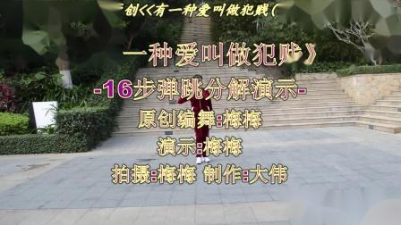 厦门梅梅广场舞-原创(123)-有一种爱叫做犯贱(16步弹跳附分解)