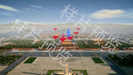 歌唱祖国大好河山山川大河宫殿飞机气球穿梭歌曲舞蹈背景视频素材样片