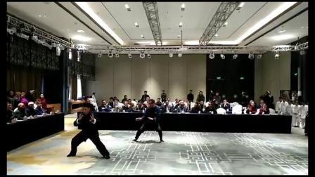 胡大虎、鲍静潜教练在焦作市陈家沟太极拳传承发展研究会第一届第一次大会表演