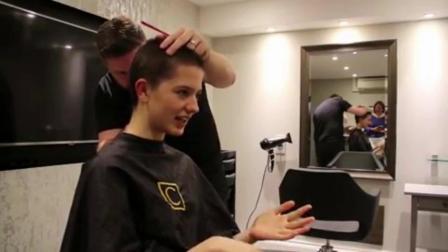我去理发店剃光头,剪长发
