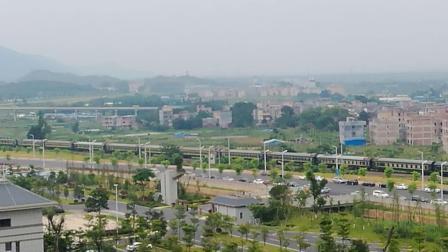 DF11牵引普快广茂线肇庆猪场道口接近