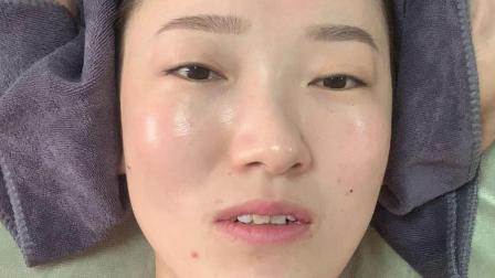 面护结束,水乳,毛巾擦眉毛和发际线