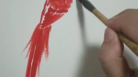 綬帶鳥畫法由蔡偉良講解