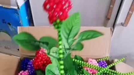 精灵手工串珠 情人节玫瑰花,纯手工制作珠子成品