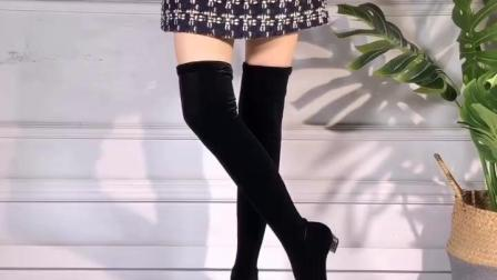 君晓天云精舞坊广场舞靴跳舞靴 长筒靴中高跟拉丁舞靴拉丁舞鞋水兵舞蹈靴