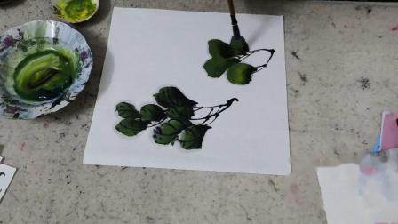 牡丹绿色叶子的画法