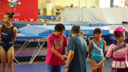 2019-8-31广西第14届区运会蹦床比赛姐姐获乙组团体、同步、个人三枚金牌