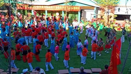 庆祝新中国建国70周年套外村广场舞联谊会空中俯瞰大团体圈圈舞蹈《欢乐的海洋》片段