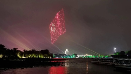 庆祝祖国七十华诞(南京玄武湖游园活动,无人机表演,燃放烟火)