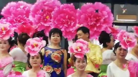 十月玫瑰2019年9月28号晚和模特姐妹宝龙广场庆国庆海选彩拍开场舞《不忘初心》舞蹈视 演示:十月玫瑰(👉🏻🌹穿牡丹服正中间)和模特姐妹