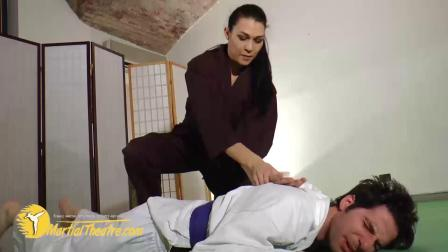 Martialtheatre:chantal black gi judo sparring demolition