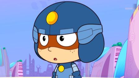 开心超人:时空怪追着小女孩跑,他说小女孩未来是麻辣档档主!超人们把甜心围起来保护着,甜心变出保护罩把他们挤走了!