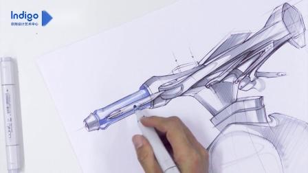 意翔工业设计手绘——自行车把手设计表达
