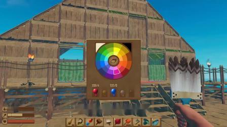 """木筏求生第25期!建好别墅的房顶,刷上颜料瞬间变成""""大皇宫"""""""