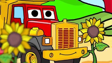 友好的幽灵用拖拉机农场收割蔬菜 儿童亲子动画