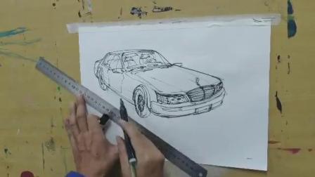 画家侯天明用马克笔画自己的座驾奔驰S320