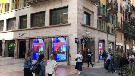 NEXNOVO晶泓科技-意大利维罗纳Nike耐克旗舰店透明LED显示屏屏项目