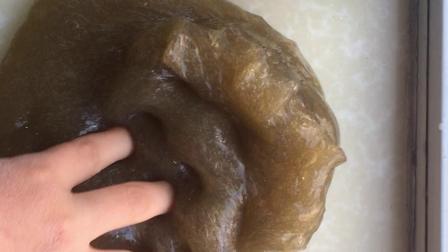 试玩茶叶色大份的水晶泥,解压好玩无硼砂