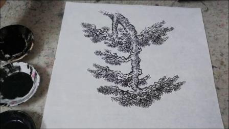 防疫期美术学科  海滨 微课示范《小松树的画法》2