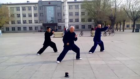 高介河,张殿君,王志良演练陈式心意混元太极拳38式炮锤