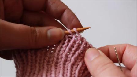 幸福的败家生活-基础棒针针法-圈织螺纹收针【Invisible Ribbed Bind Off Method】