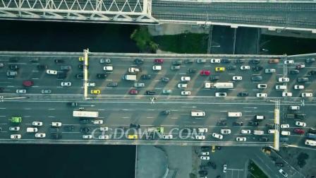 空中自上而下的交通堵塞在车桥和移动视频素材来自西橘网