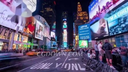 野外延时拍摄纽约时报广场视频素材来自西橘网