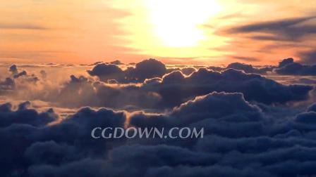 云层上方拍摄日出奇妙景观视频素材来自西橘网
