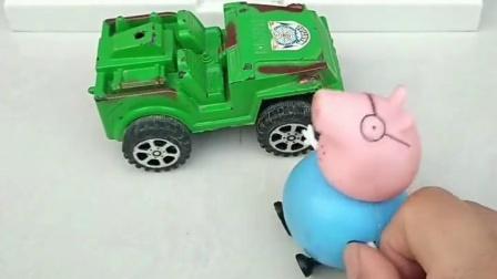 上学快迟到了,猪爸爸开车送他们去学校,结果还是跑着去的
