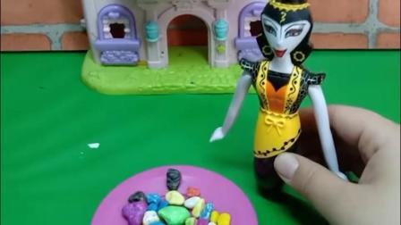 蛇精把彩虹豆里下了药,等着葫芦娃上当,葫芦娃却装晕把蛇精打了!