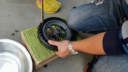 小米滑板车更换蜂窝胎 实心胎的视频