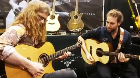 展会上Zarek即兴和来美诗特展位试琴的客人吉他合奏
