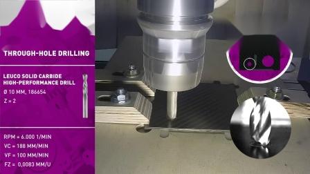 LEUCO 乐客 碳纤维增强塑料(CFRP)高性能硬质合金钻头系列产品-钻孔演示-186654