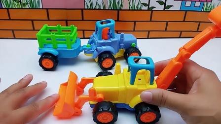 农用车拖拉机和工程车挖掘机,铲车