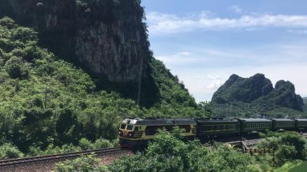 (洛湛线火车视频)DF4D 3173牵引T81贺州三道停车(上海南-南宁)