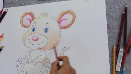 少儿美术  海滨  老鼠卡通画示范