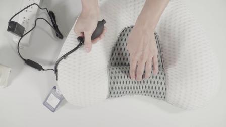 (USB热疗+手动充气)一体枕使用方法