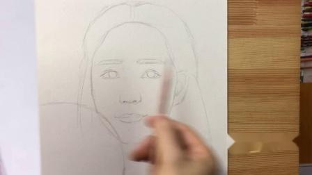 136课一痕老师扇子美女起型课,教你画人像如何起型,绘画小白变大触技巧。自学画画,彩铅画美女 零基础学画画详细教程。