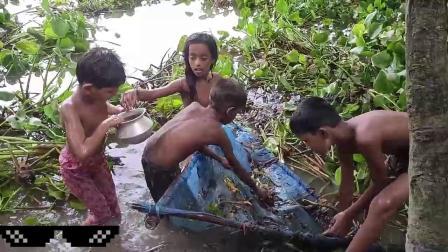 农村小朋友们寻找食材,齐心协力河里网鱼,最后高兴的回家了