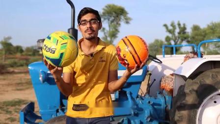 把足球绑在拖拉机轮胎上,网友:足球还可以这样玩?真是涨见识了