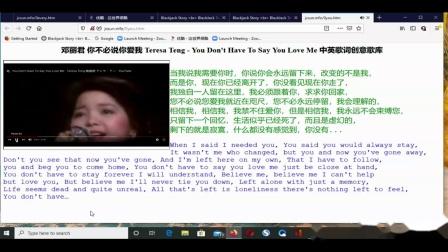 jcsun 邓丽君 你不必说你爱我 Teresa Teng - You Don't Have To Say You Love Me 中英歌词创意歌库