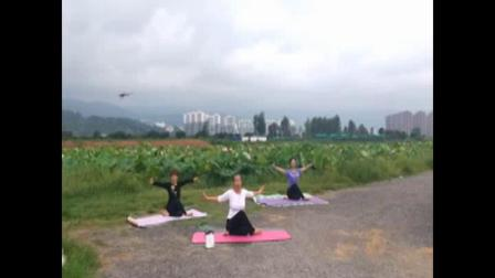 舞韵瑜伽:芳芳、长青淑玲在宜良羽红种植园、夕阳红正面