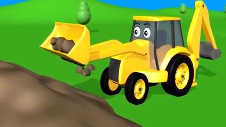 组装挖掘装载机,工程车模拟施工动画