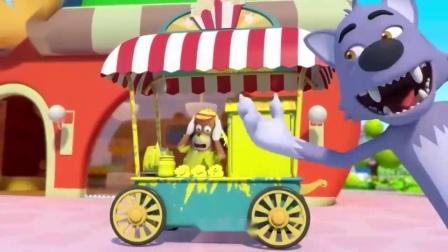 宝宝巴士:爱捣蛋的大灰狼,喷水车把路上东西都变成黄色,育儿启蒙颜色认知