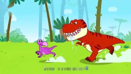宝宝巴士:霸王龙真倒霉,遇上跑的最快的似鸵龙,直接撞石头上真疼